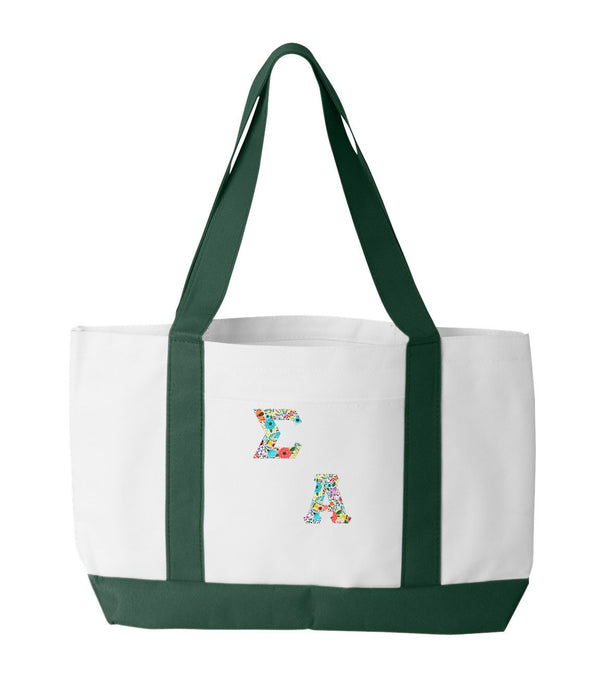 Sigma Alpha 2-Tone Boat Tote with Sewn-On Letters