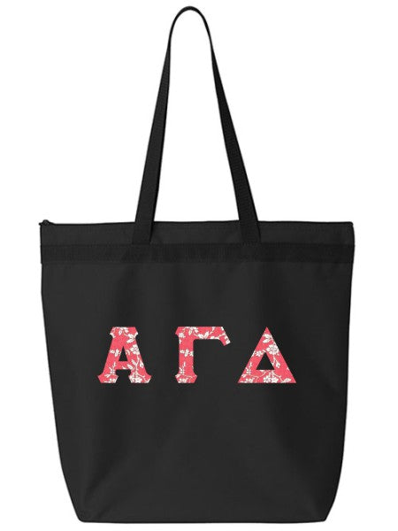 Alpha Gamma Delta Large Zippered Tote Bag with Sewn-On Letters