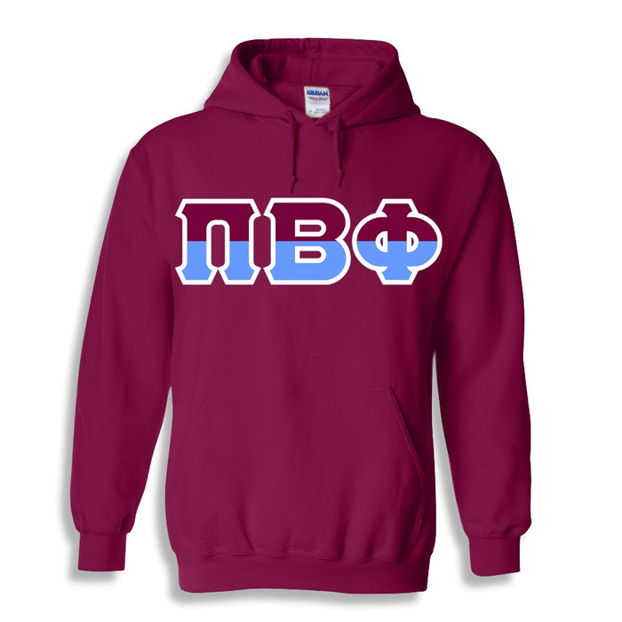 Pi Beta Phi Two Toned Lettered Hooded Sweatshirt