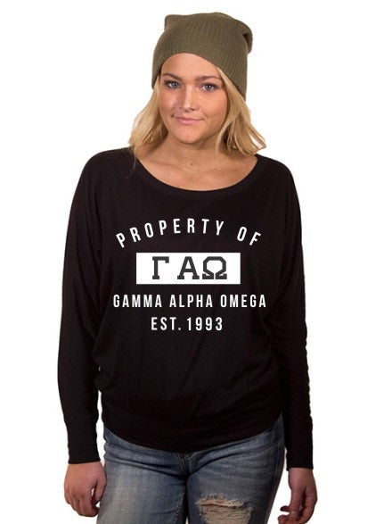 Gamma Alpha Omega Property of Flowy Long Sleeve Off Shoulder Tee