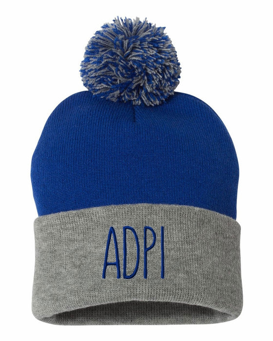 Alpha Delta Pi Sorority Beanie With Pom Pom