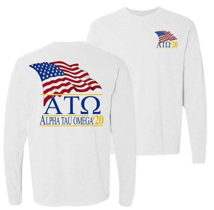 Alpha Tau Omega Patriot Flag Comfort Colors Long Tee