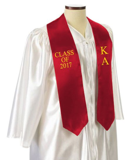 Kappa Alpha Classic Colors Embroidered Grad Stole