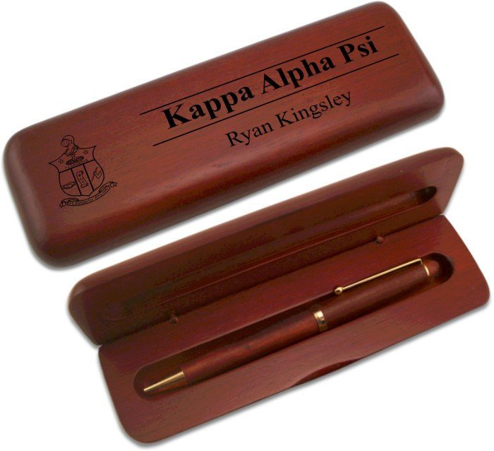 Kappa Alpha Psi Wooden Pen Case & Pen