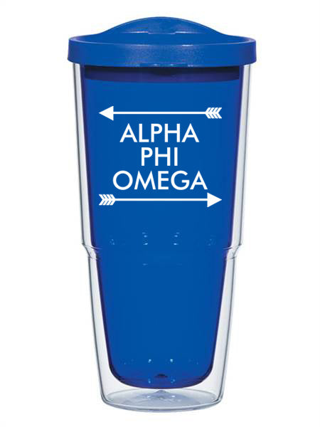 Alpha Phi Omega Arrow Top Bottom 24oz Tumbler with Lid