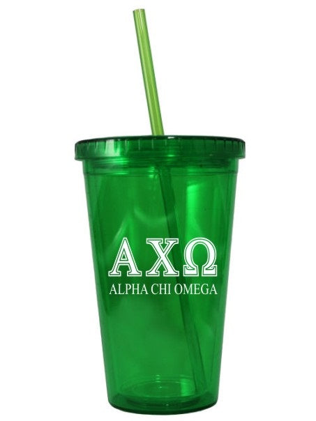 Alpha Chi Omega Symbolized Letters Layered 16 oz Acrylic Tumbler