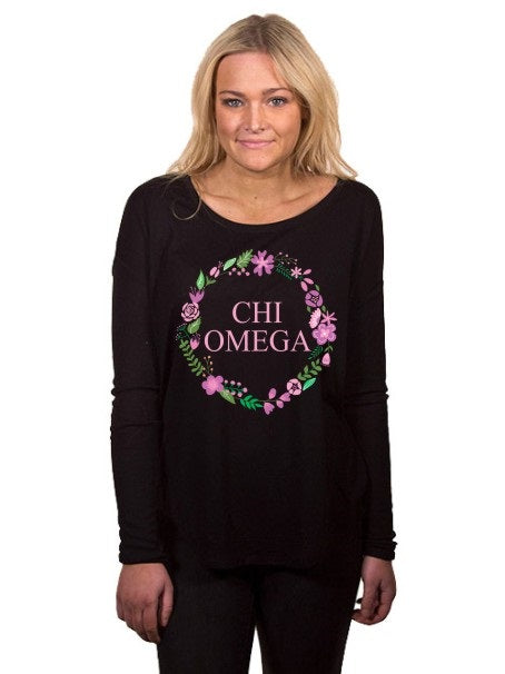Chi Omega Floral Wreath Flowy Long Sleeve Tee