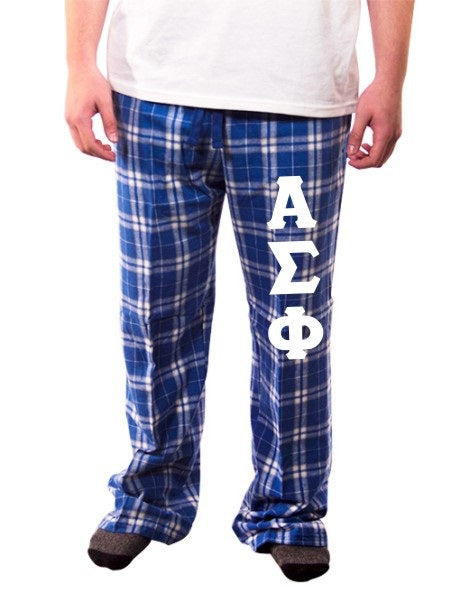 Alpha Sigma Phi Pajama Pants with Sewn-On Letters