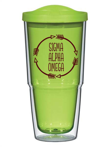 Sigma Alpha Omega Circle Arrows 24 oz Tumbler with Lid