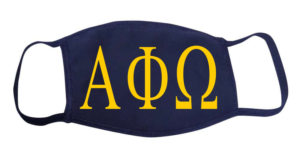 Alpha Phi Omega Face Mask With Big Greek Letters