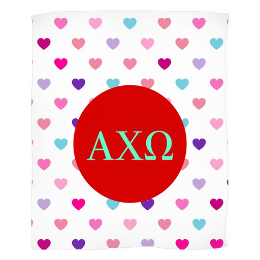 Alpha Chi Omega Hearts Fleece Blankets