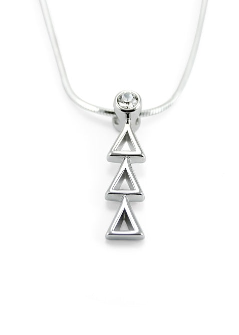 Delta Delta Delta Sterling Silver Lavaliere Pendant with Clear Swarovski Crystal