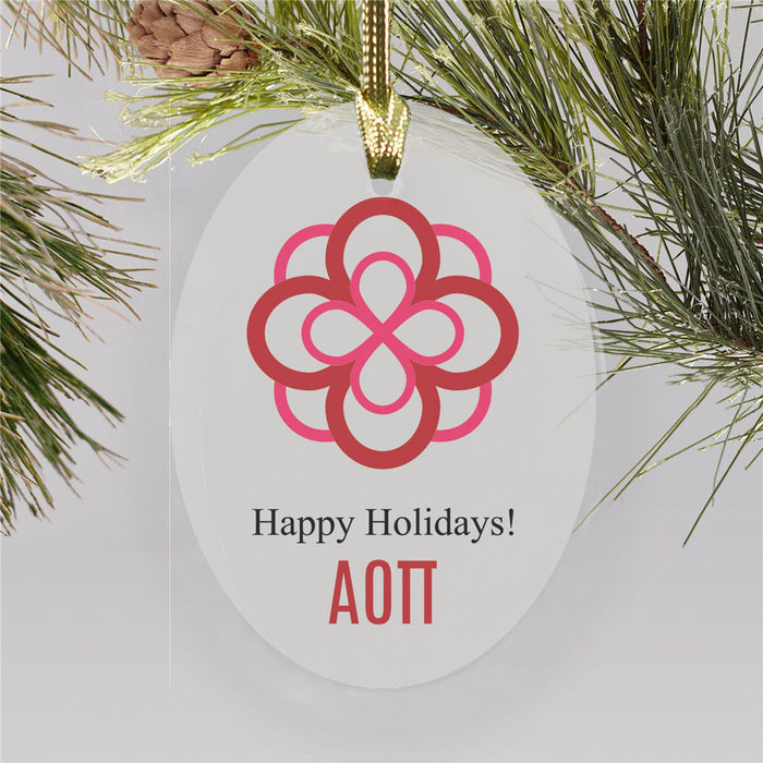 Alpha Omicron Pi Color Crest Ornament