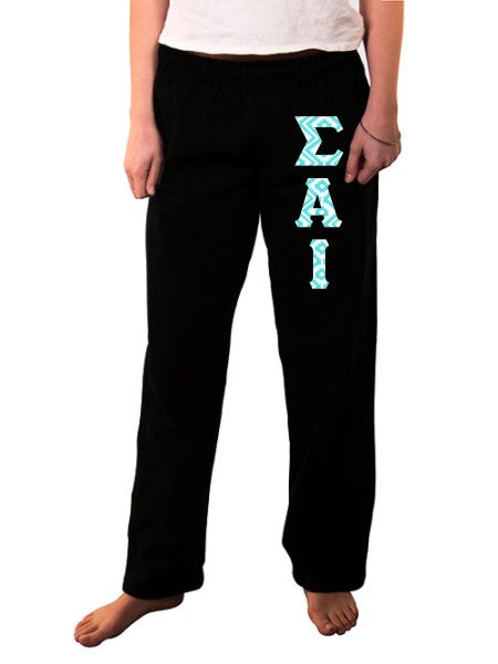 Sigma Alpha Iota Open Bottom Sweatpants with Sewn-On Letters