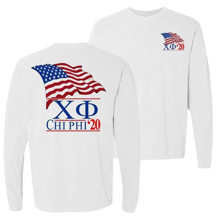 Chi Phi Patriot Flag Comfort Colors Long Tee