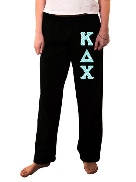 Kappa Delta Chi Open Bottom Sweatpants with Sewn-On Letters