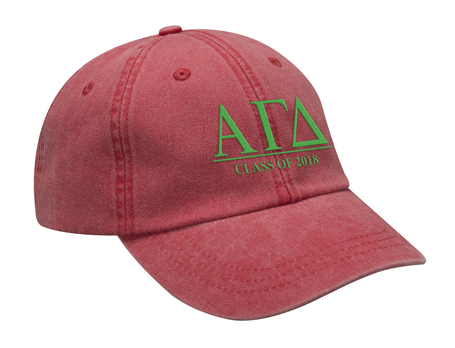 Alpha Gamma Delta Embroidered Hat with Custom Text