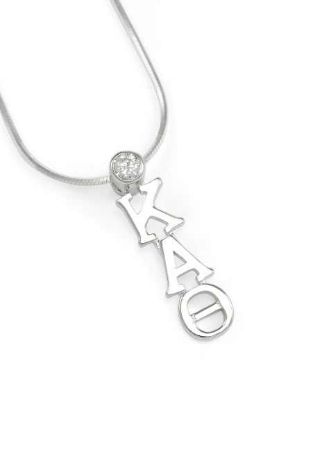 Kappa Alpha Theta Sterling Silver Lavaliere Pendant with Clear Swarovski Crystal