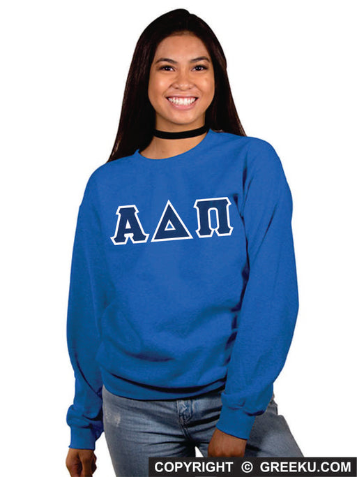 Alpha Delta Pi Classic Colors Sewn-On Letter Crewneck