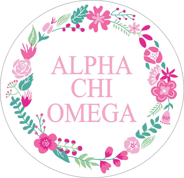 Alpha Chi Omega Floral Wreath Sticker