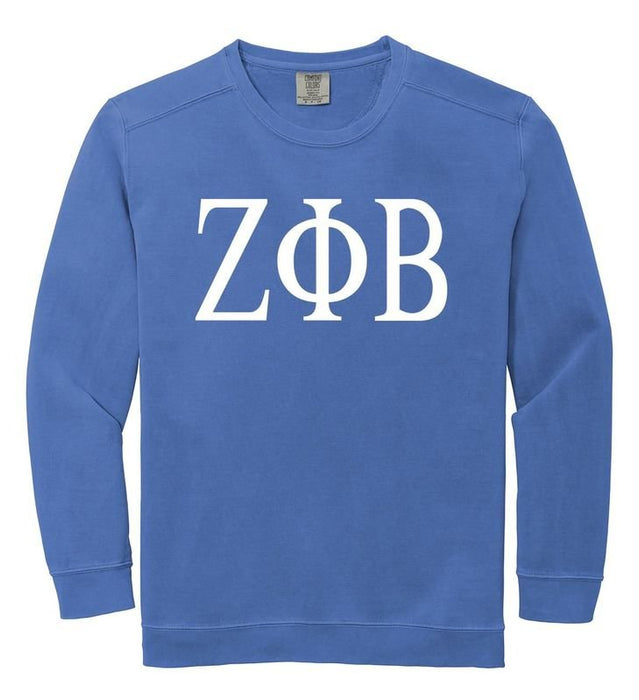 Zeta Phi Beta Comfort Colors Greek Letter Sorority Crewneck Sweatshirt