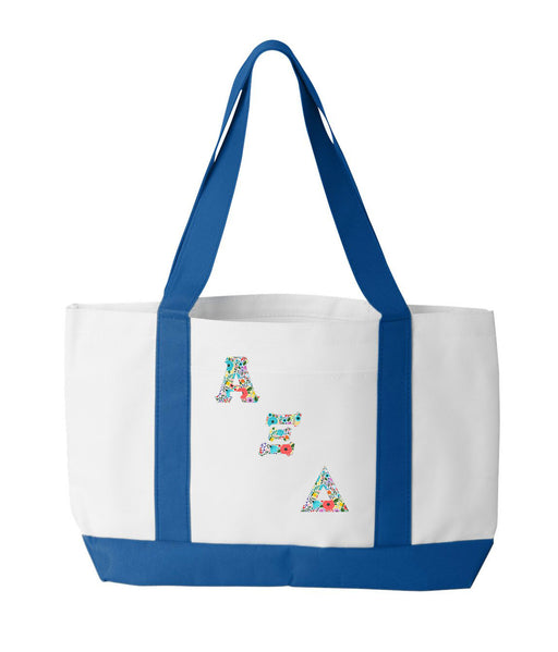 Alpha Xi Delta 2-Tone Boat Tote with Sewn-On Letters