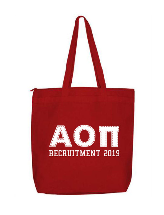 Alpha Omicron Pi Collegiate Letters Event Tote Bag