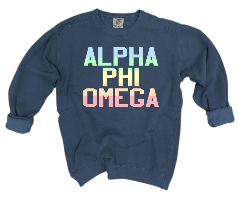 Alpha Phi Omega Comfort Colors Pastel Sorority Sweatshirt