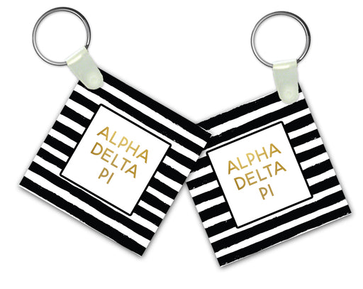 Alpha Delta Pi Striped Gold Keychain
