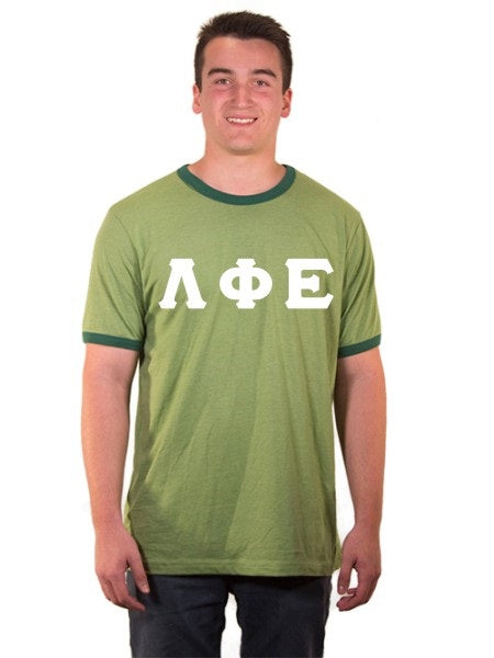 Lambda Phi Epsilon Ringer Tee with Sewn-On Letters
