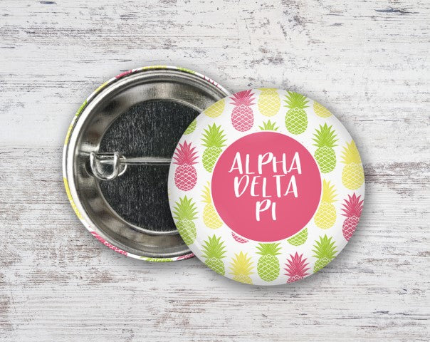 Alpha Delta Pi Pineapples Button