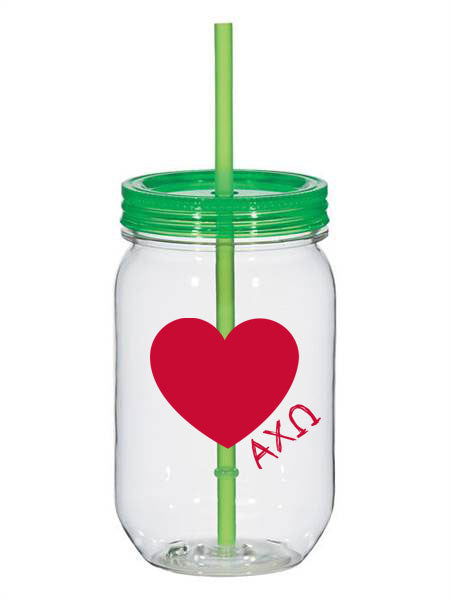 Alpha Chi Omega 25oz Scribbled Heart Mason Jar