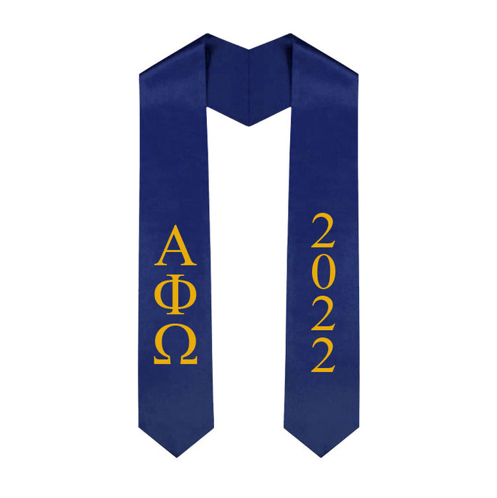 Alpha Phi Omega Vertical Grad Stole with Letters & Year