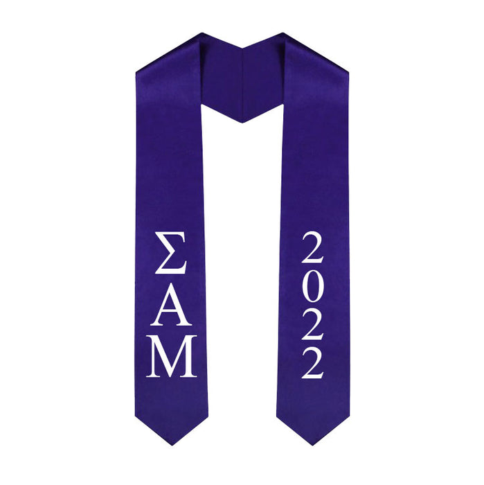 Sigma Alpha Mu Vertical Grad Stole with Letters & Year