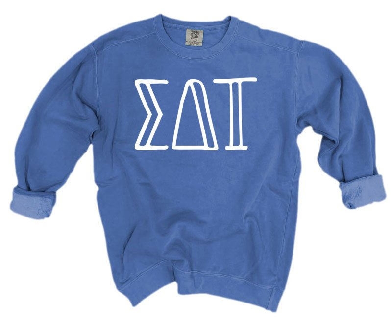 Sigma Delta Tau Comfort Colors Greek Letter Sorority Crewneck Sweatshirt