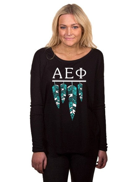 Alpha Epsilon Phi Tribal Feathers Flowy Long Sleeve Tee