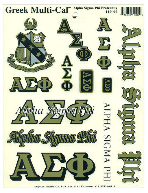 Alpha Sigma Phi Multi Greek Decal Sticker Sheet