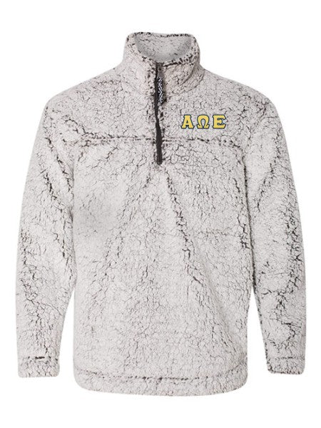 Alpha Omega Epsilon Embroidered Sherpa Quarter Zip Pullover