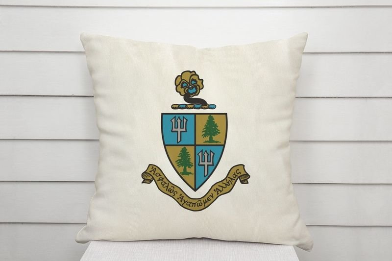 Delta Delta Delta Linen Shield Throw Pillow