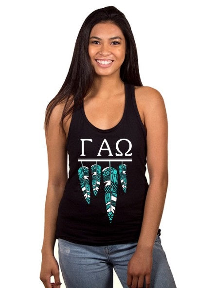 Gamma Alpha Omega Tribal Feathers Poly-Cotton Tank