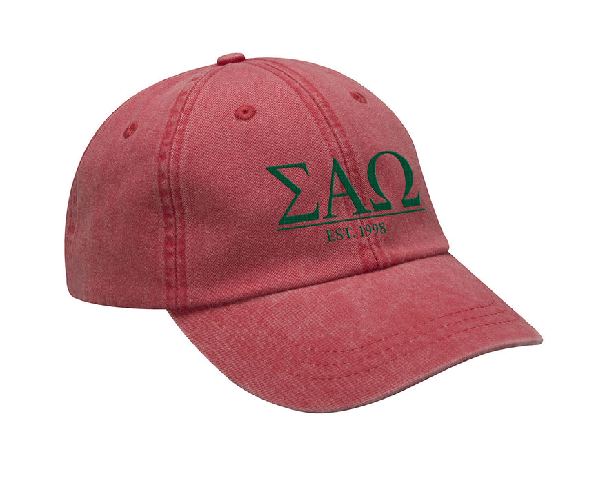 Sigma Alpha Omega Letters Year Embroidered Hat