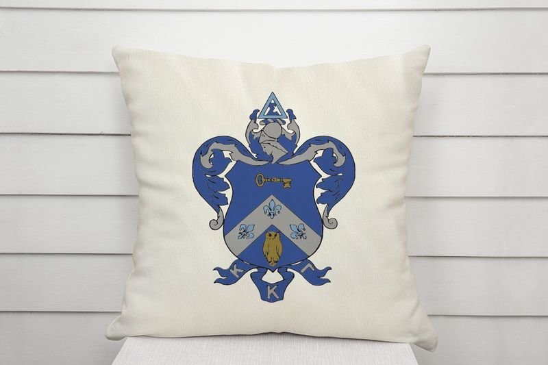 Kappa Kappa Gamma Linen Shield Throw Pillow