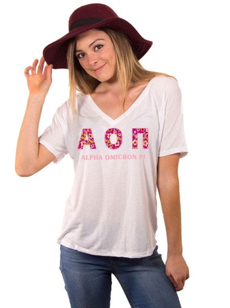Alpha Omicron Pi Floral Letters Slouchy V-Neck Tee