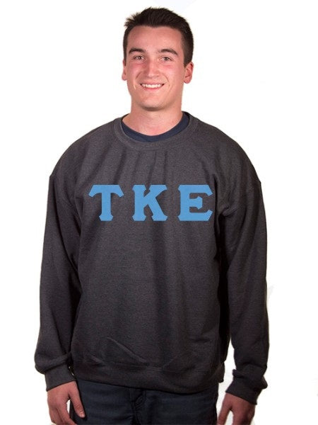 Tau Kappa Epsilon Crewneck Sweatshirt with Sewn-On Letters