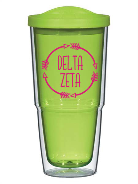 Delta Zeta Circle Arrows 24 oz Tumbler with Lid
