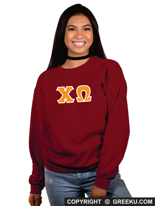 Chi Omega Classic Colors Sewn-On Letter Crewneck