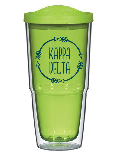Kappa Delta Circle Arrows 24 oz Tumbler with Lid