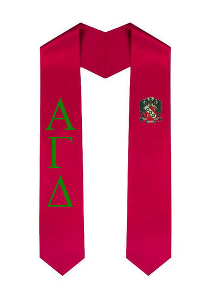 Alpha Gamma Delta Lettered Graduation Sash Stole with Crest