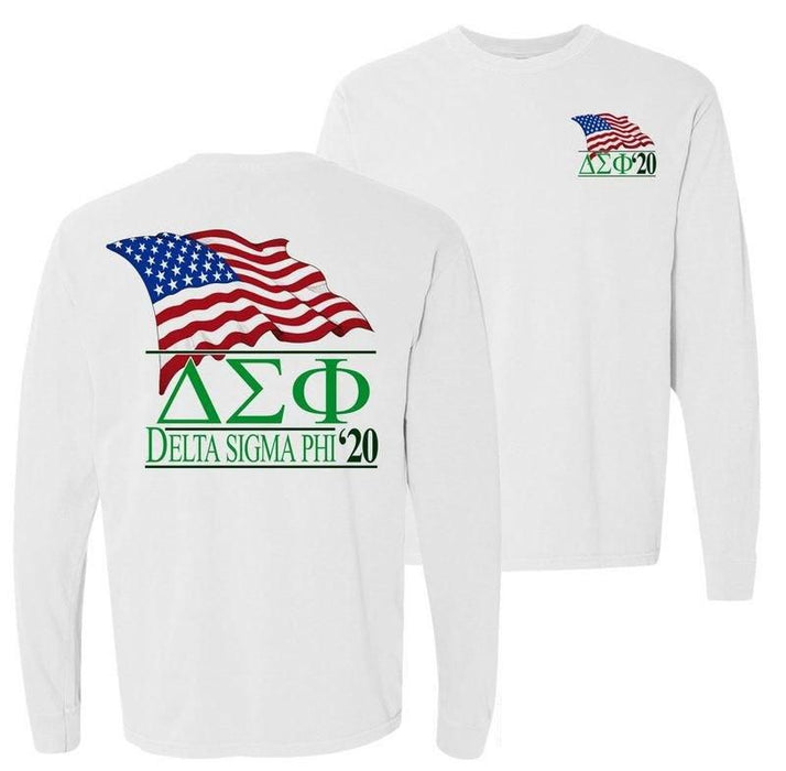 Delta Sigma Phi Patriot Flag Comfort Colors Long Tee