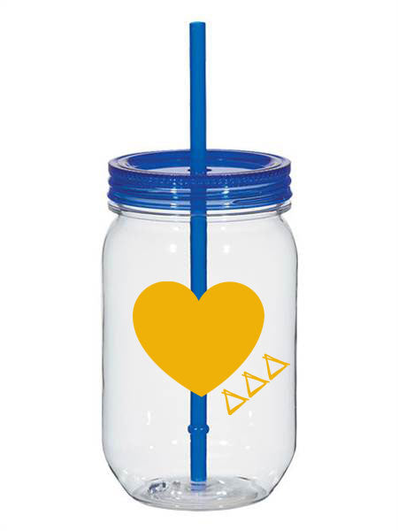 Delta Delta Delta 25oz Scribbled Heart Mason Jar